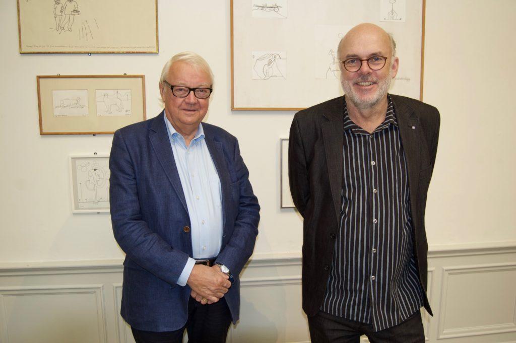 Olle Granath och Dan Wolgers hade hängt utställningen
